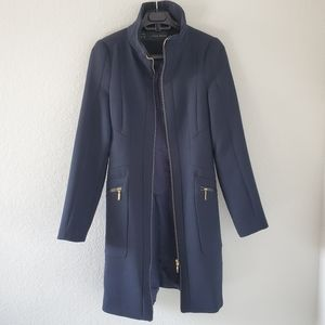 ZARA basic navy wool blend zip up coat